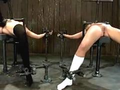 2 Girls Tied To Bench Getting Their Pussies Fingered Stimulated With Vibrator Whipped Nipples Tortured In The Dungeon