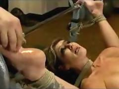 Blonde Busty Girl With Legs Up Tied To Weight Bench Rubbed With Icecube Ass Fingered Fucked With Dildo Pussy Stimulated With Vibrator By Master In The Training Room