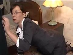 Secretary On Her Knees Giving Blowjob Getting Her Tits Rubbed Nipples Sucked By Young Boss On The Bed In The Room