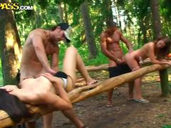 Wild and crazy student sex party in the woods