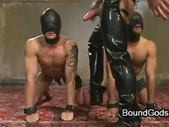 Two gays fuck two bound with leather masks gays