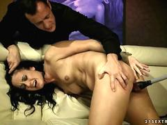 Brunette gets painfully punished