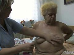 Horny old woman goes crazy getting her