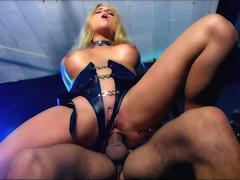 Big titted blond in leather fucked after sucking
