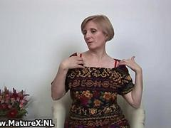 Older horny woman is touching her sexy