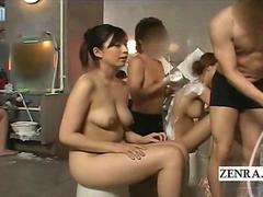 Subtitled ENF CMNF voluptuous Japanese woman stripped
