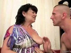 Chubby grandma gets her hairy pussy fucked video