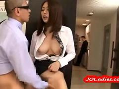 Horny Office Lady Fingered While Standing Jerking Off Guy Cock Cum To Legs At The Corridor Behind T