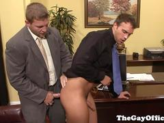 Gay office hunk gets promoted to bum boy