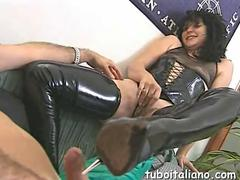 Curly milf in leather stockings gets railed