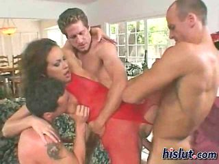 Sultry slut Mandy got stuffed with a trio of rods