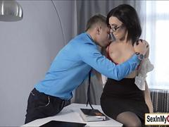 Sexy secretary Sheri Vi has quickie sex with her boss