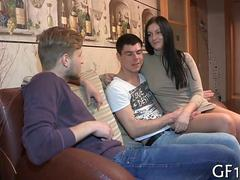 Shaved Russian hottie cuckolds her boyfriend on a couch