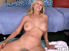 Blonde MILF with massive tits fucks after a bj
