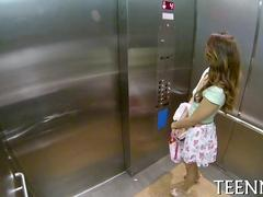 Nerdy Latina in a hot dress thinks about fucking in public