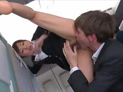 In the airplane she gets fucked and its pleasing