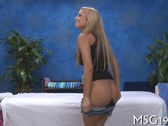 Big tits blonde riding her massage therapist and loving it