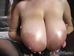 Giant hooters bounce on a long meat pole