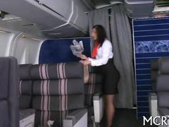 Big ass stewardess face sitting on a horny dude and fucking