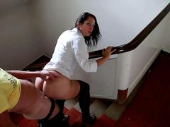 A quickie on the stairs