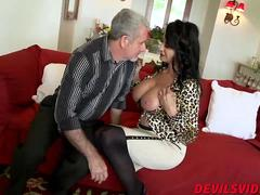 Granny Rita Daniels with big tits gets fucked hard on a sofa