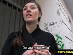 Pulled euro babe blows cock for cash