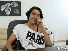 Ugly Latina with short hair rides a big fat dick