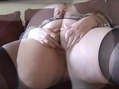 Mature BBW with big round butt and hairy pussy strips