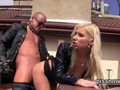 Blonde babe getting rear ended outside by leather clad biker