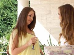 Hot lesbian lovemaking by Sapphic Erotica with Capri Anderson and Angelina Brill in Check My Dress