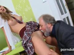 Kissable college girl gets teased and pounded by her elder schoolteacher
