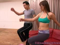 Japanese gym teen fucked by workout buddy