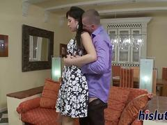 Slim and busty stunner ride a shaft