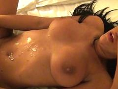 Chesty brunette pussy banged and jizz shot