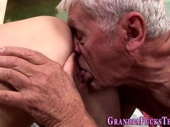 Teen rides geriatric dick