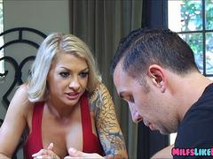 Blonde Tattooed Wife Loves a Big dick down Her Throat