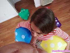 Tiny teen cocksucking up side down
