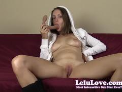 Lelu Love fucking a dildo in just furry hoodie and Uggs