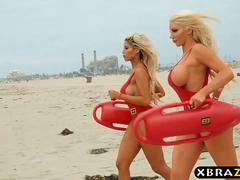 Baywatch parody with huge tits blonde lifeguard babes