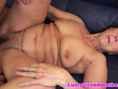 Chubby granny is starving to suck that big fat manhood and get nailed in different poses by this handsome dude
