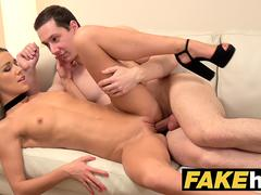 Female Agent Sexy agent gets licked to orgasm after fucking technician