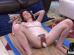 Hot hairy brunette gets machine fucked