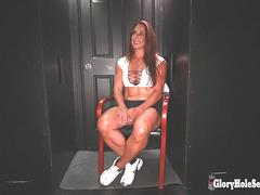 Bulky fitness Milf cant get enough cum from strangers in gloryhole