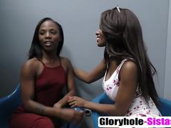 Two black girls pleased with glory hole