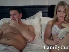 Scared Stepdaughter Gets Fucked While Wife Sleeps - FamilyCum