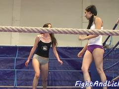Petite beauty strips and enjoys wrestling
