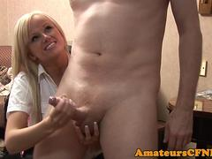 Beautiful CFNM babe jerking dick nicely
