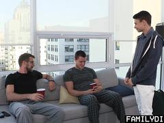 FamilyDick - Horny stepdad and older brother fucked a young twink