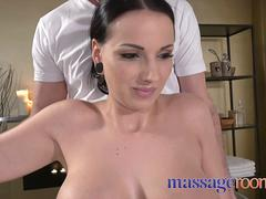 Massage Rooms Voluptuous big tits German gives oily tit fuck to big cock