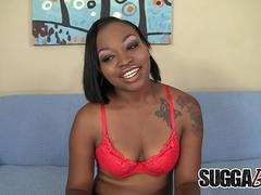Adorable Ebony Nikki Ford Satisfies a White Dude Orally and Vaginally